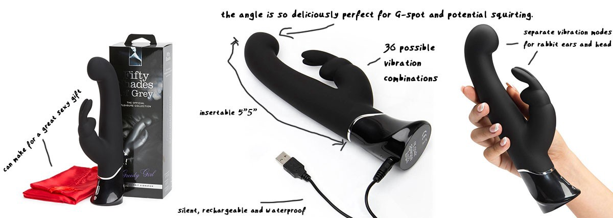 Squirt Toy: Fifty Shades of Grey Greedy Girl Rechargeable G-Spot Rabbit Vibrator