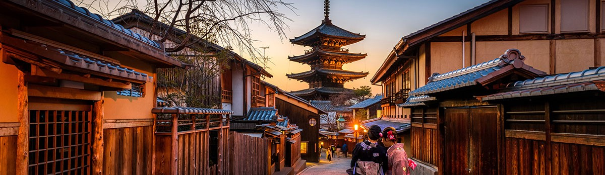 japanese city in evening